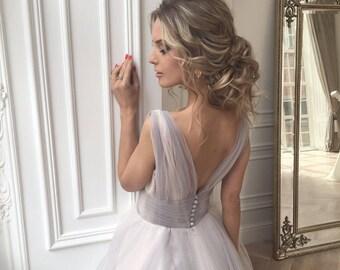 Alternative Wedding Dress , Tulle Dress, Off shoulder wedding dress, dusty gray