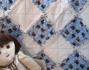 Baby Patchwork Quilt, Flannel Baby Rag Quilt, Baby Boy Quilt. Blue Trains, Baby Shower Gift, Fluffy Baby Blanket. Car Seat Blanket
