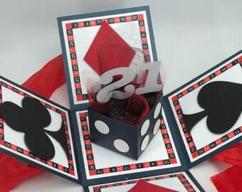 3D 21st Birthday Card, Explosion Box Card with Vegas Theme, milestone birthday