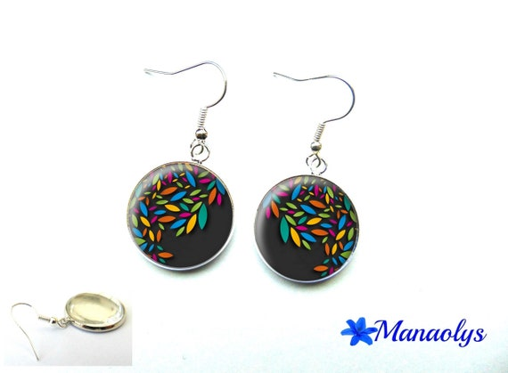 Colorful earrings, multicolored patterns, 3259 glass cabochons