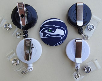 Retractable Badge Holder - Fabric Covered Button - Seattle Seahawks