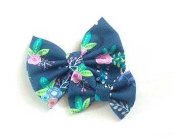 Navy Floral Bow | Fabric Bow | Handmade Hair Bow | Hair Clip | Headband