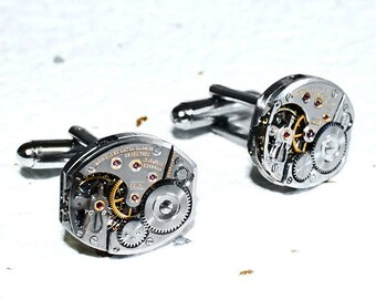LONGINES Men Steampunk Cufflinks -RARE Luxury Swiss Large Silver Vintage Watch Movement Men Steampunk Cufflinks Cuff Link Fathers Day Gift