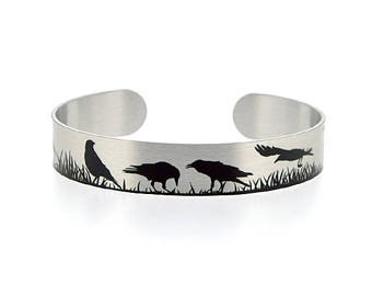 Raven crow jewellery, brushed silver cuff bracelet, metal bangle with crows ravens in black. Black bird gothic gifts. S520