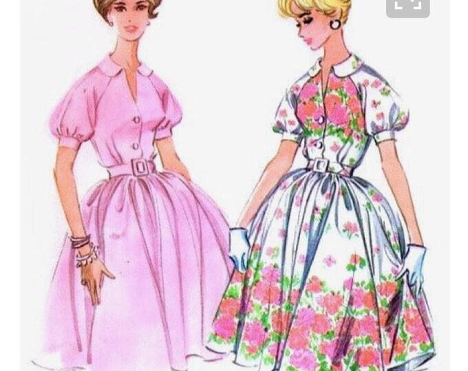 McCall's 5401 Vintage Reproduction Collared Raglas Sleeve Shirtwaist Dress with Full Skirt Circa 1960