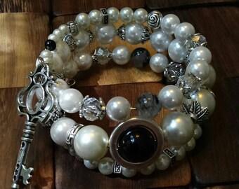 Pearl & Silver Key Charm Wrap Bracelet