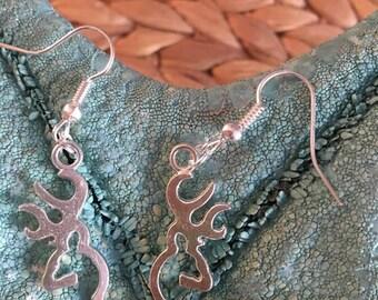 Deer Earrings, Hollow Deer jewelry,Browning Deer earrings,Silver Plated Browning earrings