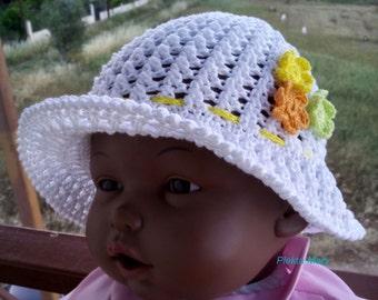 Crochet summer hat,white cotton hat,girls summer hat,spring cotton hat,childrens asseccories,wide brimmed hat,girls sun hat,child hat, #etsy