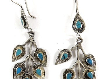 Earrings Silver Turquoise Branch Afghanistan 111661