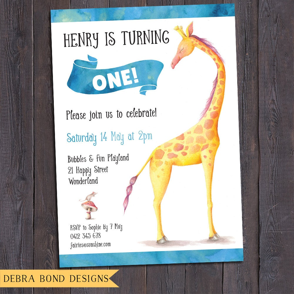 Giraffe birthday invitation boy, giraffe invitation, digital ...