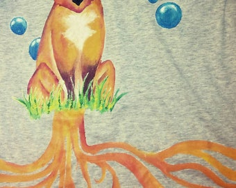 T-shirt with red fox and bubbles of Acua azzure
