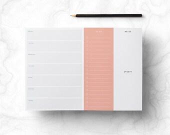 Weekly Printable Planner - Retro Desk Work Planner with To Do List, Stylish Minimalist Week Organizer, Digital File, DIY, INSTANT DOWNLOAD