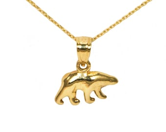14k Yellow Gold Bear Necklace