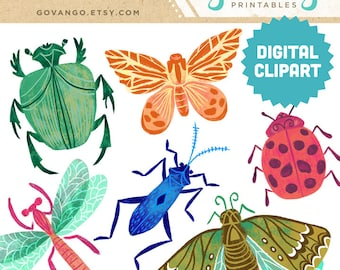 BUGS Digital Clipart Instant Download Illustration Beetle Dragonfly Insect Moth Butterfly Ladybug Nature Specimen Entomology