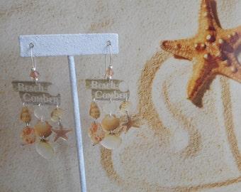 Beach Comber shells beach sea charm earrings