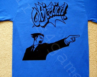 Phoenix Wright Objection! T SHIRT (ace attorney justice 3ds tribulations apollo miles ds)
