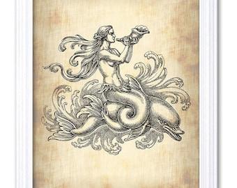 Dolphin Mermaid Print Vintage Antique Parchment Style Nautical Decor Ocean Beach Home Decor Wall Art
