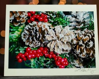 Berries & Pinecones Photo Christmas Card