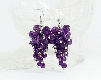 Purple amethyst earrings Statement earrings Chandelier earrings Mother day gift for mom gift for sister birthday gift for girlfriend gift