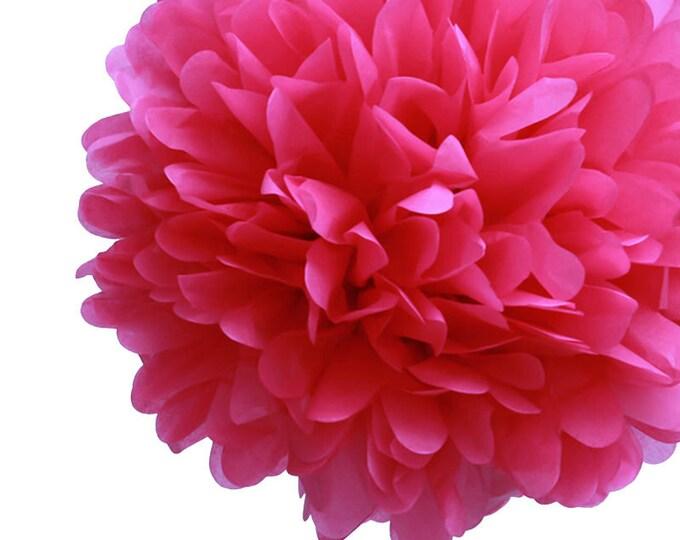 Hot Pink Tissue Paper Pom, Hot Pink Pom, Hot Pink Tissue Paper Pom Pom, Hot Pink Paper Flower, Tissue Flower, Wedding & Birthday Party Decor