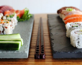 Gift Set - Sushi & Chopstick Plate Set for Two - Black or Sea Green