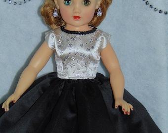 Silver Brocade Bodice & Black Satin Skirt Party Dress -- 20 inch Revlon Doll