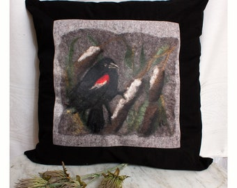 Pillow Cover Red Wing Blackbird and Cattails