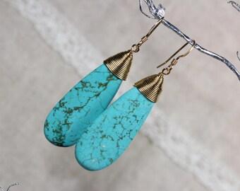 Gemstone Earrings; Turquoise Earrings; Gold Filled Earrings