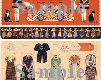 Paper Doll _ Vintage Peasant Costumes of Europe Paper Dolls _ Folk Costumes _ PDF _Digital Download _ Paper Art Dolls + BONUS Booklets