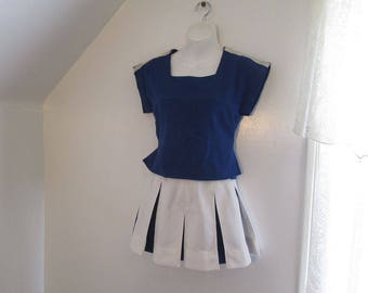 Vintage 80s Cheerleader uniform Blue and White Pleated skirt vintage Cheer top and skirt Halloween costume XS cheerleading