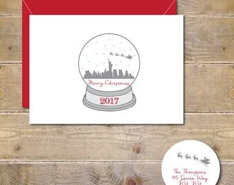 Christmas Cards, Holiday Cards, Snowglobe, New York City, Santa, Skyline, City, Manhattan, NYC, Silhouettes, Reindeer, Rudolph, Handmade