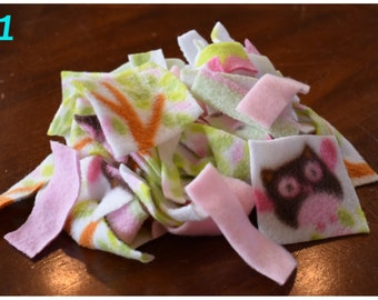 Fleece strips & squares for small animals