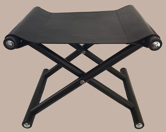 Dark Brown Folding Leather Stool with Chrome Hardware or Brass Hardware