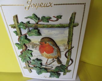 Card (embossed) 3-d red throat and stickers gold Merry Christmas