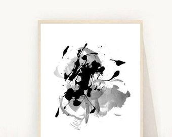Abstract Art, Printable Art, Abstract Watercolor,  Black and White Art, Wall Art, Minimalist Art, Home Decor, Instant Download, Wall Decor,