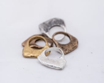 Statement Stackable ring Flat Scratch design in brass, bronze or silver.