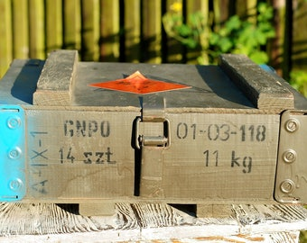 Wooden Ammo Box Military Ammunition Army Chest Salvage Wood Crate Loft Wooden Trank Coffe Table Component Man Cave Gift Coffer