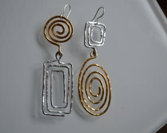Gold Wire Maze Gifts for her ,Trending , Quirky jewelry, Bold Jewelry
