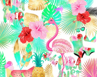 Tropical Clipart, Summer Clipart, Flamingo Clipart - pineapple, watermelon, tropical leaf, flowers, gold, beach, wedding, planner stickers