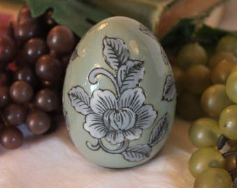 "Vintage Asian Hand Painted Blue and Green 3.5"" Ceramic Egg adorned with Vining Flowers"