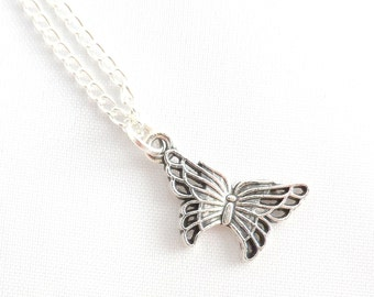 Silver Butterfly Necklace -  Butterfly Necklace - Butterfly Pendant