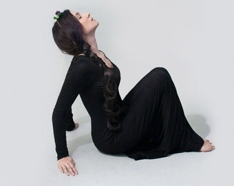 Maxi Dress • Long Sleeve Womens Dresses • Minimalist Bohemian • Tall Petite Length • Made in our USA loft • L415 & Co Clothing (# 415-714)
