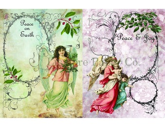 Christmas Angel Digital Collage Sheet Instant Download Printable Paper Crafts Tags Scrapbooking Whimsical Altered Art