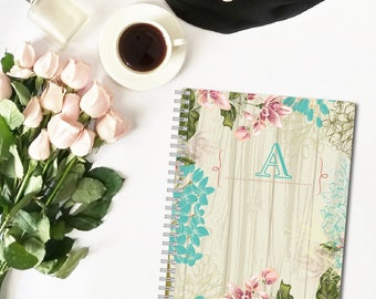 Vintage Floral Monogram Personalized Spiral Notebook, Custom Notebook, Personalized Sketchbook, Personalized Journal