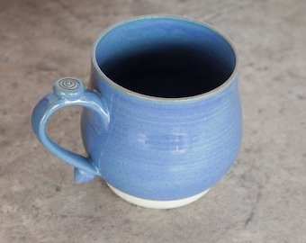 handmade wheel thrown ceramic mug - light blue