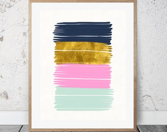 Abstract Print - INSTANT DOWNLOAD Printable Art - Abstract Art - Modern Art - Abstract Painting - Brush Strokes