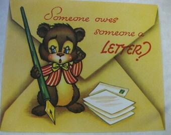 Vintage Mint Bear Pen Get Well Happy Birthday Please Write Greeting Card Unused