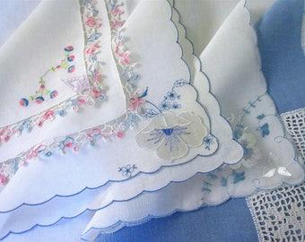Wedding   Handkerchiefs , Vintage Hankies   ,  Hanky ,  Batiste  Embroidery  Blue    Handkerchiefs  - set of 6.