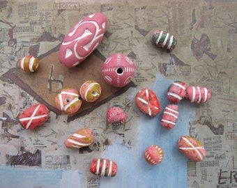 Pink Colored Clay Beads Exotic Ceramic Beads Ethnic Boho Carved Beads White Etched Guru Bead Pendants Exotic Unique Colorful Tribal Beads