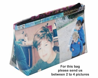 LARGE custom makeup case with pictures from you printed on it - FREE SHIPPING, gift gifts for mom mother girlfriend her customized purse bag